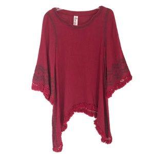 Keer Qiaowa Red Embroidered Tunic Fringe Boho Sz L